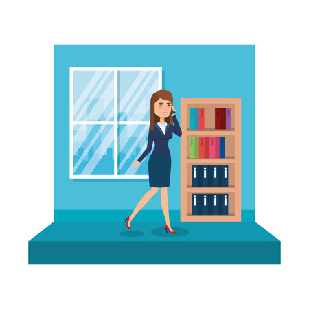 elegant businesswoman with bookscase in the office vector illustration design