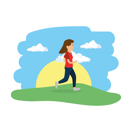 young woman running in the camp vector illustration design Illustration