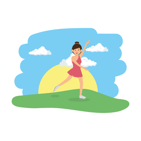 young woman practicing dance in the camp vector illustration design