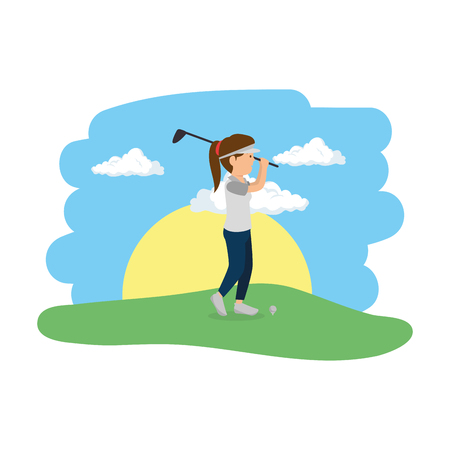 young woman practicing golf in the camp vector illustration design Illustration