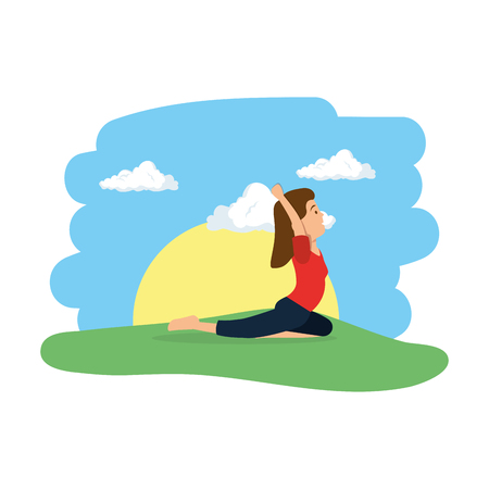 young woman practicing yoga in the camp vector illustration design