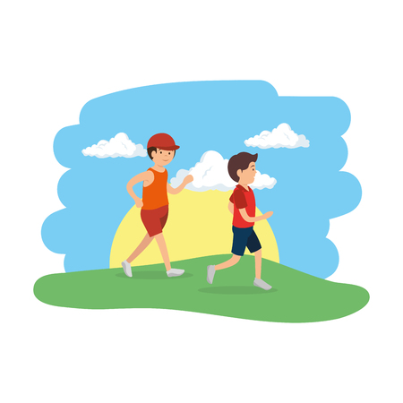 athletic couple men running in the camp vector illustration design
