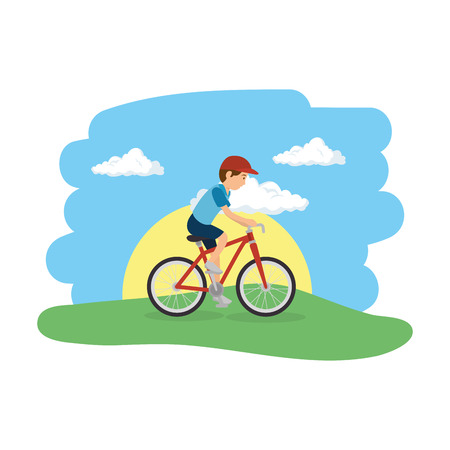 athletic man in bicycle on the camp vector illustration design