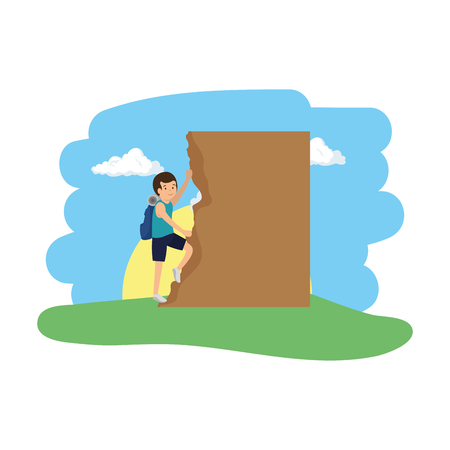 athletic man climbing in the camp vector illustration design