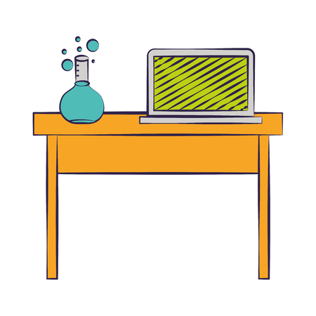 laptop and chemistry flask on desk back to school vector illustration