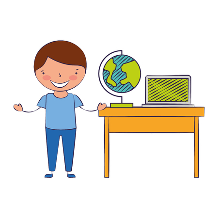 boy with globe desk and laptop back to school vector illustration
