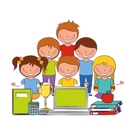 kids with laptop trophy book and calculator back to school vector illustration Фото со стока - 114210055