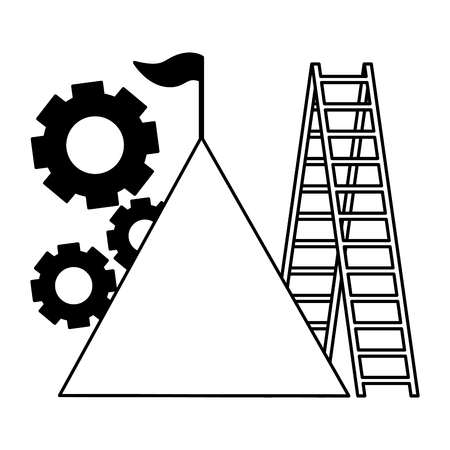 business mountain flag gears and stairs vector illustration vector illustration