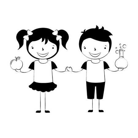 boy and girl with apple and test tube back to school vector illustration