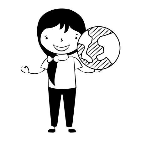 girl holding globe world back to school vector illustration Illustration
