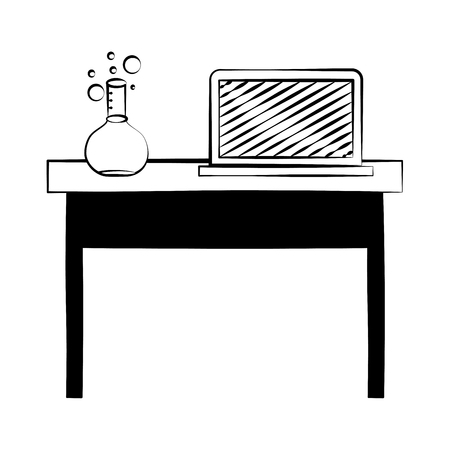 laptop and chemistry flask on desk back to school vector illustration