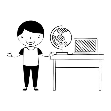 Niño con escritorio de globo y computadora portátil de regreso a la escuela ilustración vectorial
