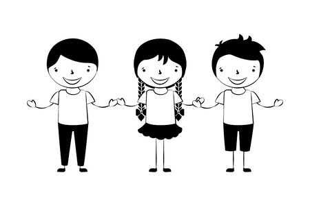 girl and boys holding hands friends vector illustration
