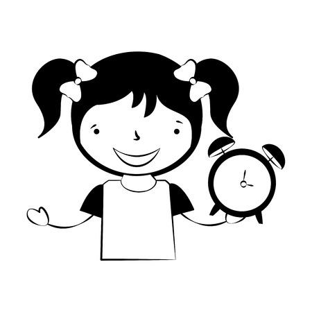 girl holding alarm clock back to school vector illustration