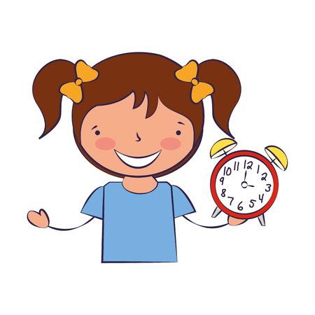 niña sosteniendo el despertador de regreso a la escuela ilustración vectorial