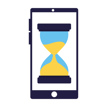 business smartphone clock time white background vector illustration
