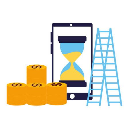 business smartphone coins stairs clock vector illustration Illustration
