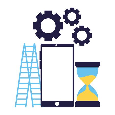 business smartphone stairs clock gears vector illustration Illusztráció