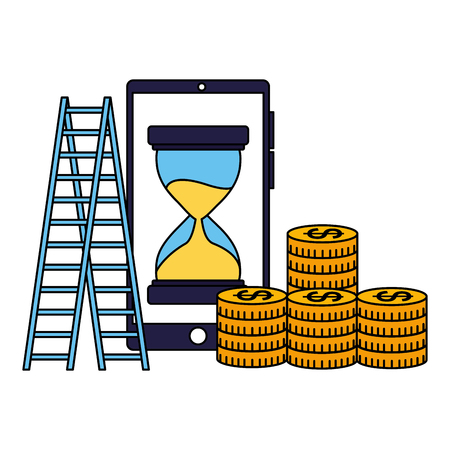 business smartphone coins stairs clock vector illustration Ilustracja