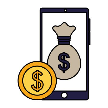 business smartphone bag money coin vector illustration