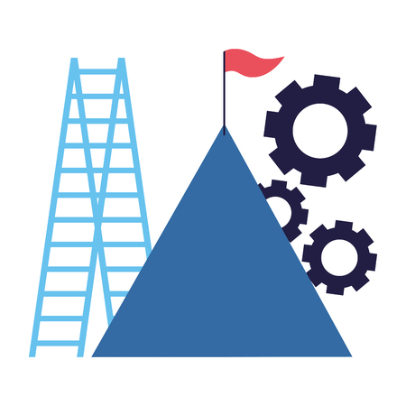 business mountain flag gears and stairs vector illustration