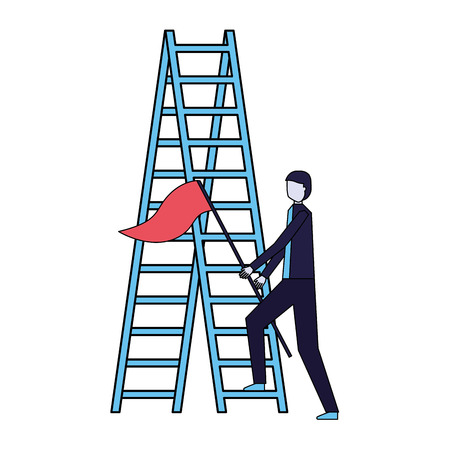businessman with flag and stairs success vector illustration