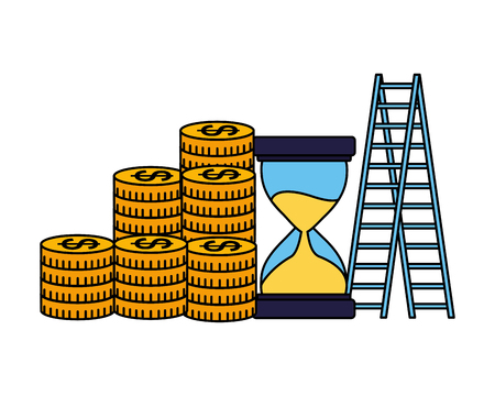 business money success hourglass stairs vector illustration