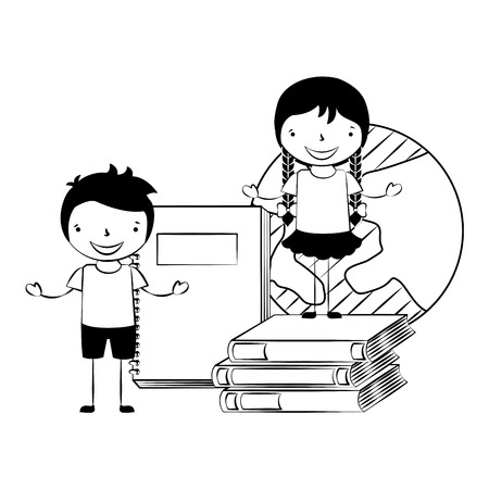 boy and girl with books world back to school vector illustration Çizim