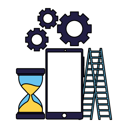 business smartphone stairs clock gears vector illustration Illustration