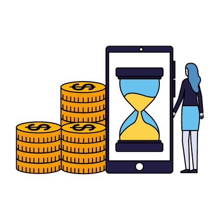 woman smartphone clock money coins vector illustration