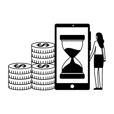 woman business smartphone clock coins vector illustration 일러스트