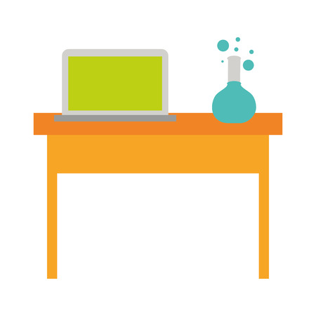 laptop and chemistry flask on desk back to school vector illustration Фото со стока - 114212091