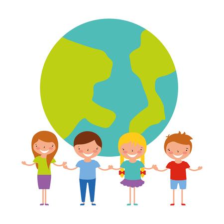 boys and girl world back to school vector illustration