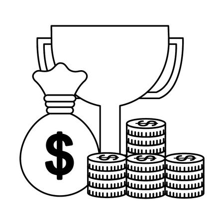 business money coins trophy success vector illustration