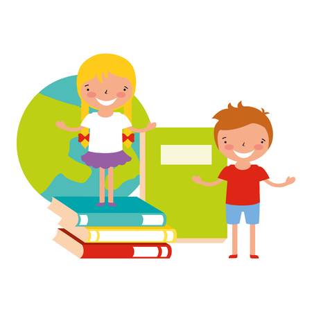 boy and girl with books world back to school vector illustration Ilustração
