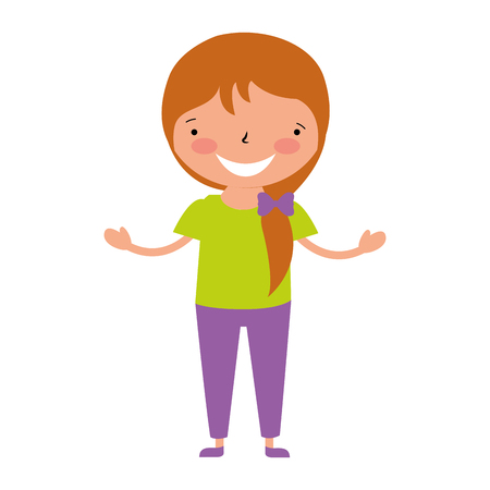 smiling young girl on white background vector illustration  イラスト・ベクター素材