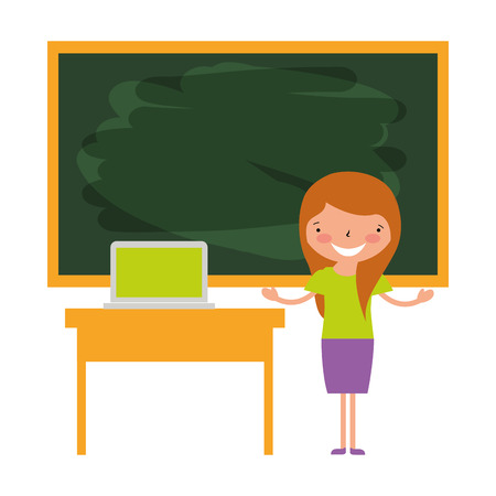 teacher and laptop classroom back to school vector illustration