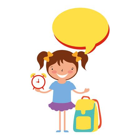 girl, tenue, horloge, sac à dos, retour, école, vecteur, illustration