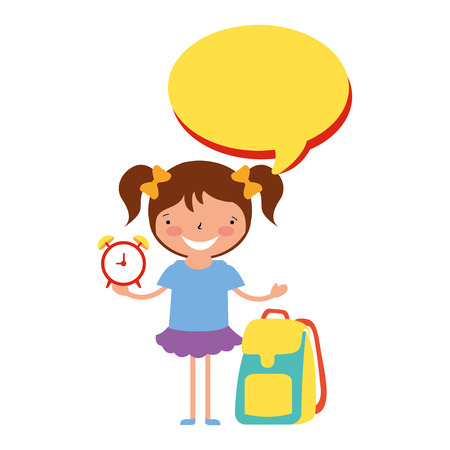 Mädchen mit Uhrenrucksack zurück zur Schulvektorillustration