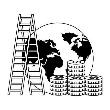 business world stairs coins money success vector illustration
