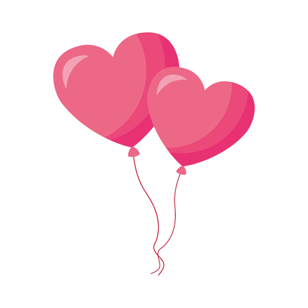 balloons shaped hearts valentine day vector illustration Stock Vector - 114212929