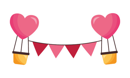 hot air balloons garland valentine day vector illustration