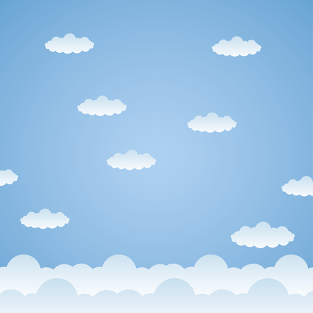 blue clouds sky space background vector illustration