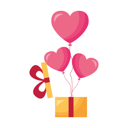 gift with balloons hearts valentine day vector illustration Illustration