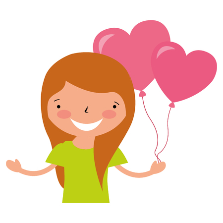girl with balloons hearts valentine day vector illustration Stock Vector - 114241074