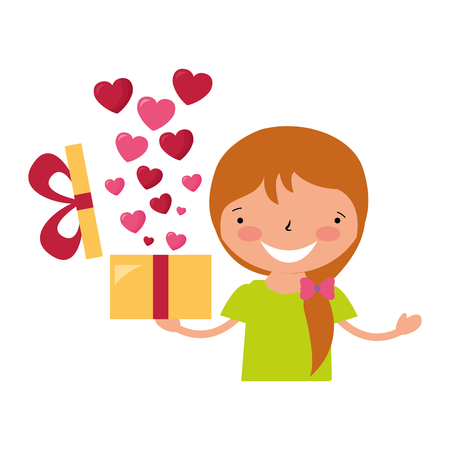girl holding gift with hearts valentine day vector illustration