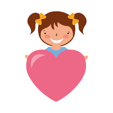 happy girl with heart love valentine day vector illustration Фото со стока - 114241081