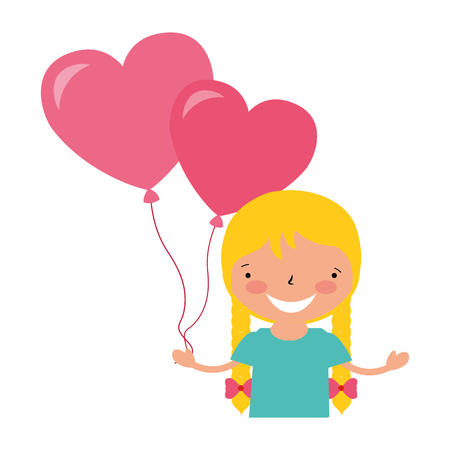 girl with balloons hearts valentine day vector illustration Stock Vector - 114241082