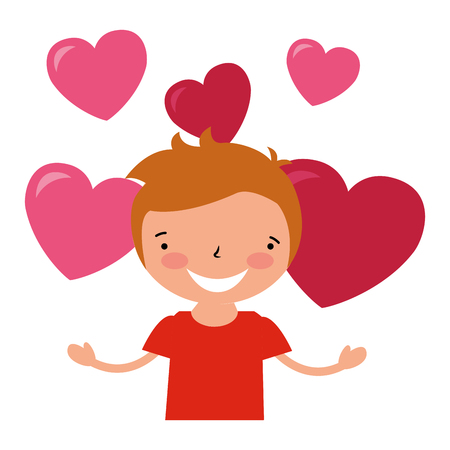 happy boy with hearts valentine day vector illustration
