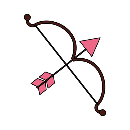 cupid bow arrow valentine day vector illustration